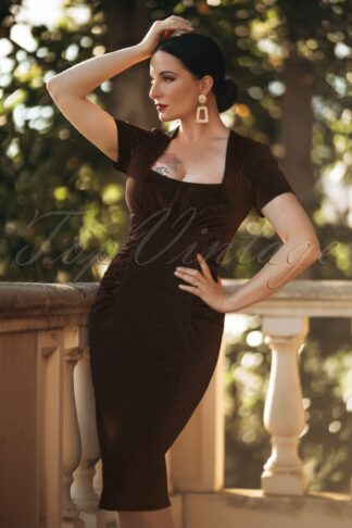 50s Mila Pencil Dress in Bronze