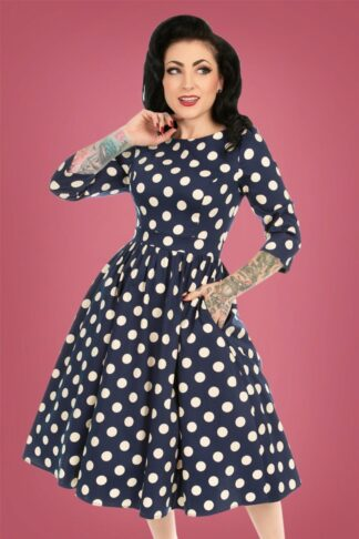 50s Milana Polkadot Swing Dress in Navy and Cream