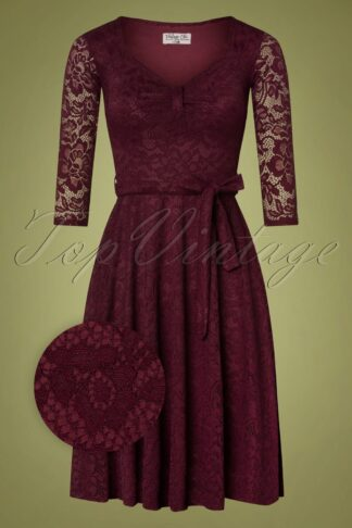 50s Myra Lace Tea Dress in Burgundy