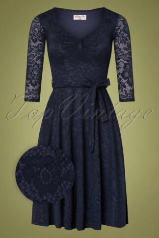 50s Myra Lace Tea Dress in Navy