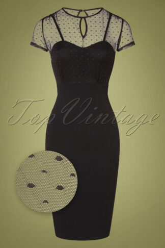 50s Norah Pencil Dress in Black