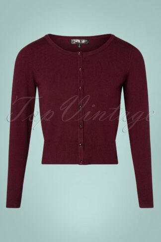 50s Nyla Cropped Cardigan in Burgundy