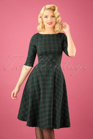50s Peebles Tartan Swing Dress in Green