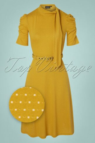 50s Posie Polkadot Swing Dress in Mustard