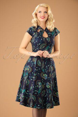 50s Proud Peacock Swing Dress in Midnight Blue