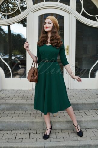 50s Ruby Swing Dress in Forest Green