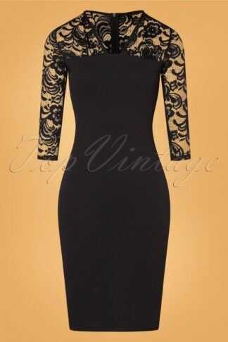 50s Ryleigh Lace Pencil Dress in Black