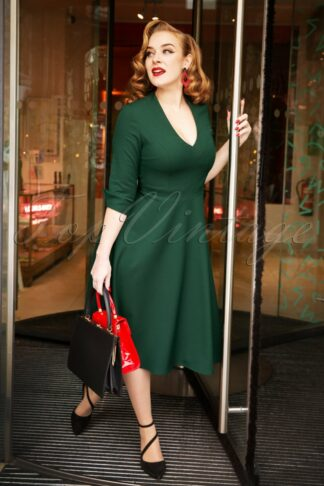 50s Sasha Swing Dress in Dark Green