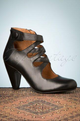 50s Sedona Leather Pump Booties in Black
