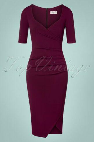 50s Selene Pencil Dress in Berry Purple
