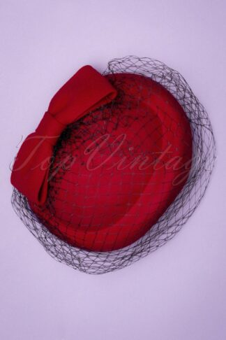 50s Shamira Fascinator in Lipstick Red