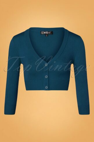 50s Shela Cropped Cardigan in Teal Blue