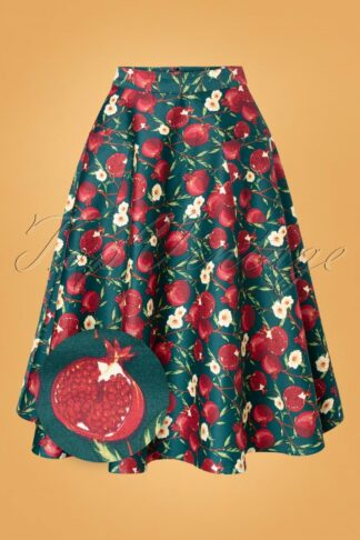 50s Silvia Pomegranate Swing Skirt in Teal
