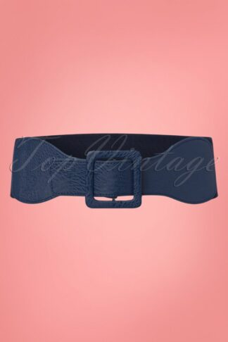 50s Square Buckle Belt in Navy