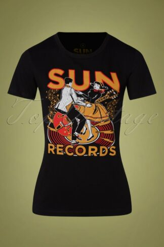 50s Sun Records Lindy Hop T-Shirt in Black