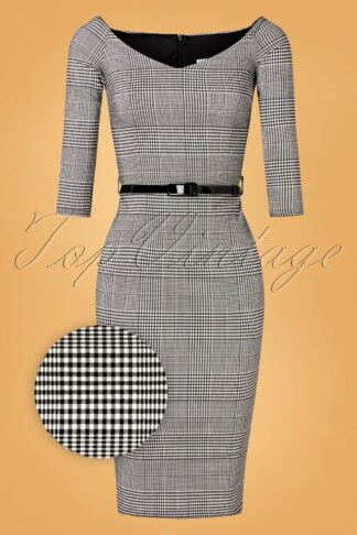 50s Teagan Check Pencil Dress in Black and White