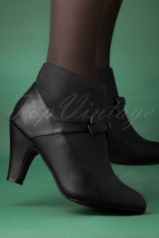 50s Vintage Wings Shoe Booties in Black