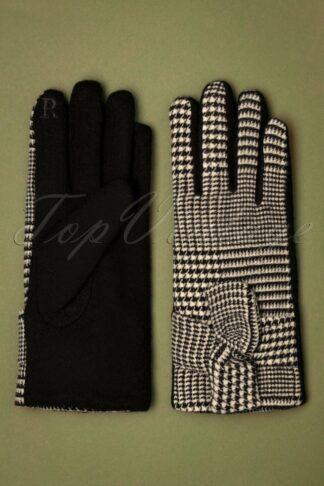 50s Vivien Houndstooth Wool Gloves in Black