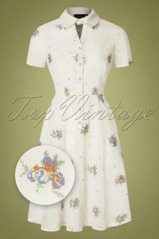 50s Wonder White Chiffon Swing Dress in White