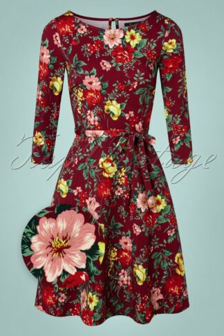 60s Betty Prado Dress in Beet Red