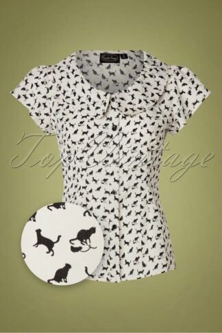 60s Caddie Cat Blouse in White