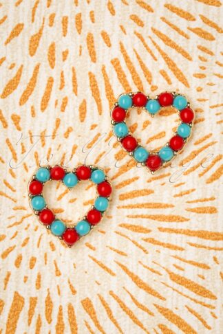 60s Circus Heart Studs in Red and Blue