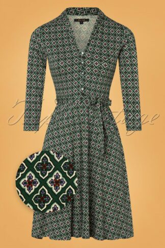 60s Emmy Giza Dress in Pine Green