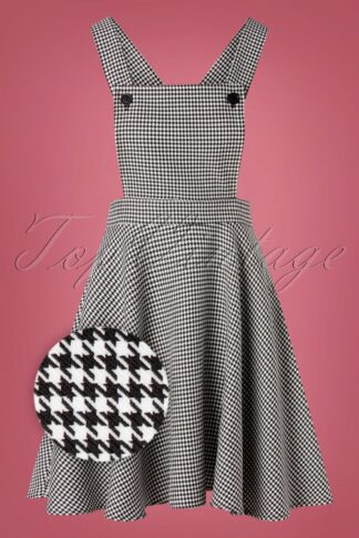60s Harvey Houndstooth Pinafore Dress in Black and White