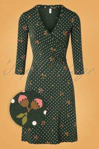60s Hunters Darling Dress in Tiny Hazelnut Green