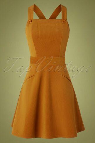 60s Katie Corduroy Overall Dress in Cognac