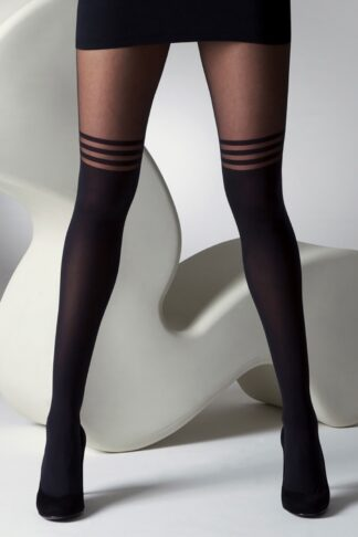 60s Mock Over The Knee Stripe Tights in Black