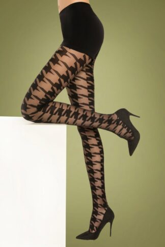 60s Pied de Poule Tights in Black
