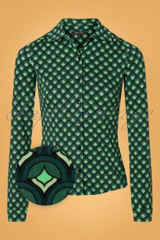 60s Pose Blouse in Dragonfly Green