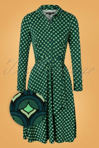 60s Sheeva Pose Dress in Dragonfly Green