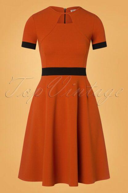 60s Verona Swing Dress in Cinnamon and Black