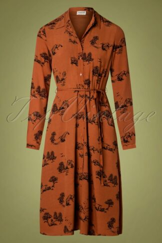 70s Elspeth Alaskan Wilds Shirt Dress in Tan Brown