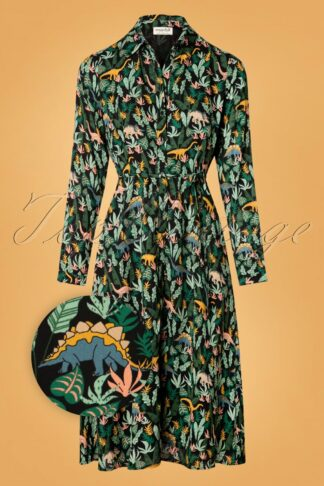 70s Elspeth Lost Dinosaurs Shirt Dress in Black