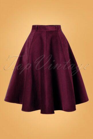 70s Jefferson Swing Skirt in Wine Corduroy