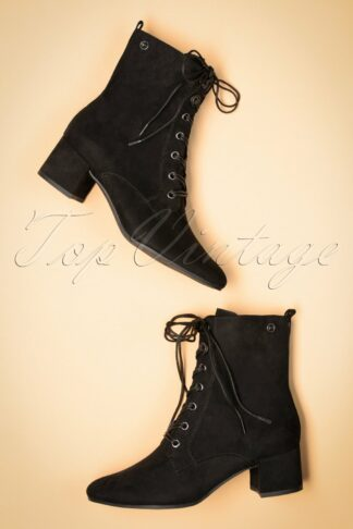 70s Livia Lace Up Ankle Booties in Black