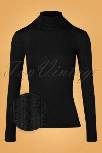 70s Rollneck Uni Tencel Rib Top in Black