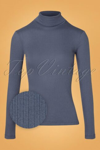 70s Rollneck Uni Tencel Rib Top in Bluestone Blue