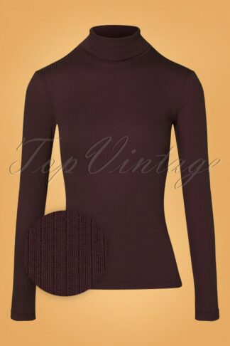 70s Rollneck Uni Tencel Rib Top in Grape Red