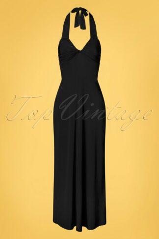 70s Skylar Halter Maxi Dress in Black