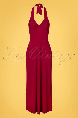 70s Skylar Halter Maxi Dress in Lipstick Red