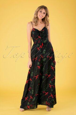 70s Tara Phoenix Maxi Dress in Black