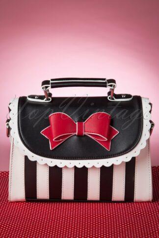 Girly Black White Striped Red Bow handbag