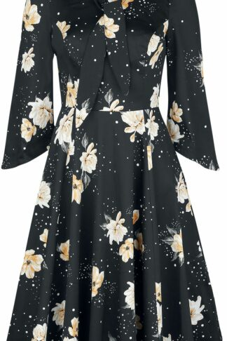 H&R London Flower Dress Mittellanges Kleid schwarz