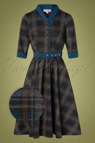 TopVintage exclusive ~ 40s Lily Teagan Tartan Swing Dress in Midnight Blue