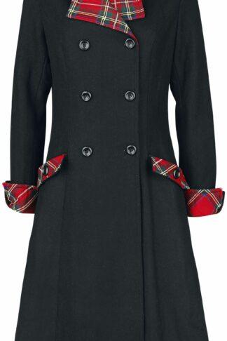 Voodoo Vixen Vanessa Contrast Tartan Coat Mantel schwarz