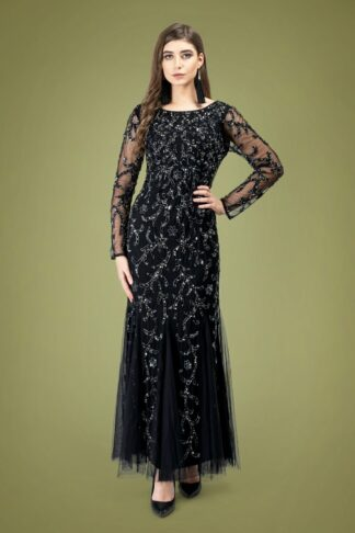 20s Ava Full Sleeve Sequin Maxi Dress in Black